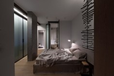 Studio Apartment bedroom with built in wardrobes