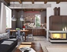 Concrete Finish Studio Apartment Kitchen