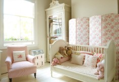 Pink and white girls room design