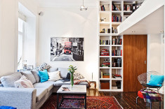 Small Swedish Apartment With Storage Shelve
