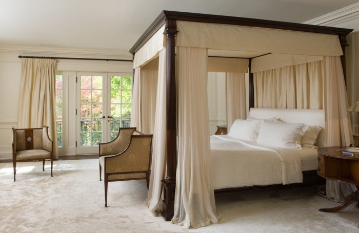 Exotic Canopy Bed With Cream White Curtains Home Ideas