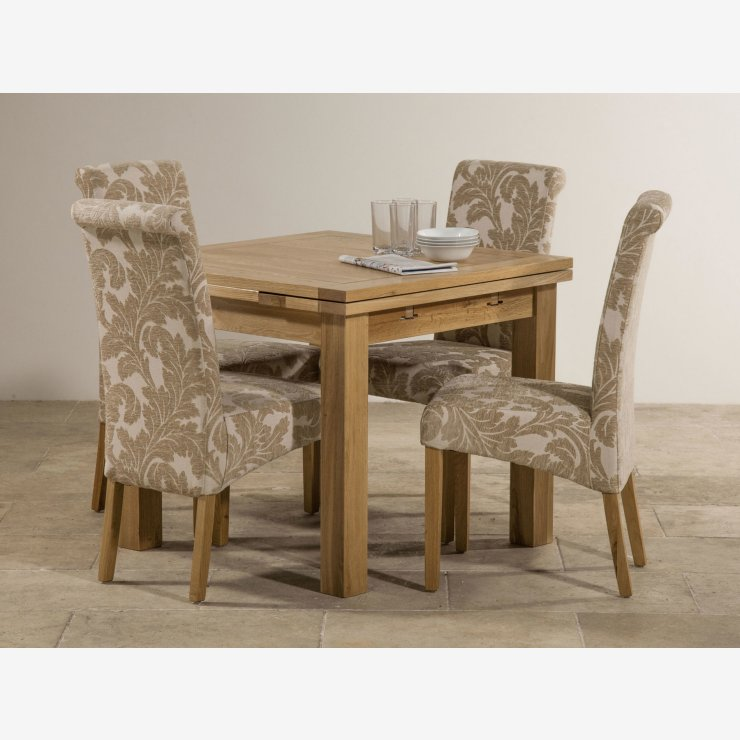 dorset solid oak dining set 3ft table with 4 beige chairs