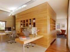 Home Office with Wooden Wall and Box Shelving