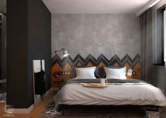 Wood and tile herringbone sets Bedroom Wall Textures