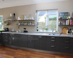 Glossy Grey Kitchen From Ikea