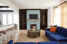 Interior design of living room with Blue Sofas