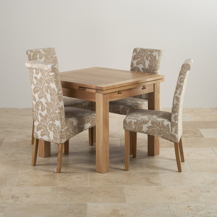dorset solid oak dining set 3ft table with 4 beige chairs home ideas