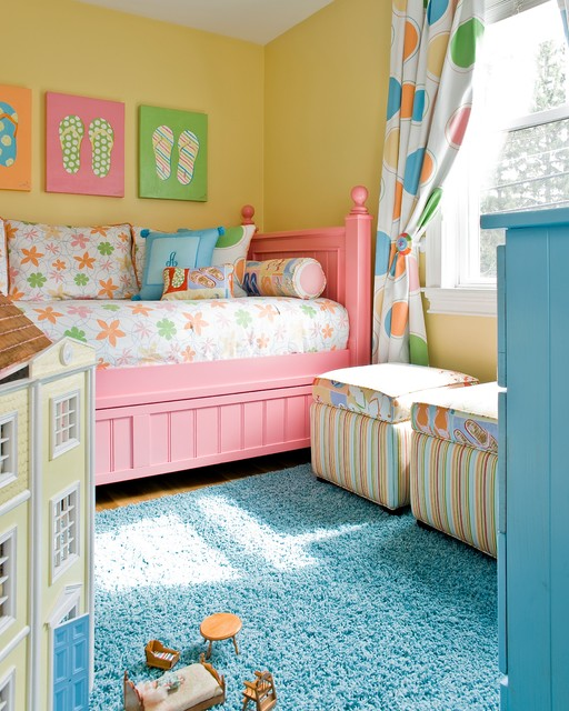 Teal and yellow kids room