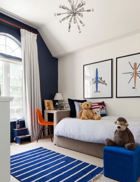 Blue and bright white kids room