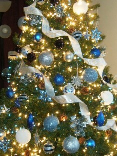 Blue white and silver christmas tree