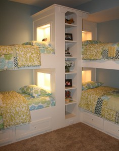 Minimalist kids room with bunk bed