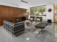 Living Room with Black Leather Couches