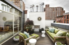 Contemporary rooftop deck with Teak Furniture