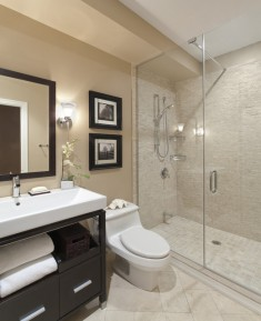 Contemporary Bathroom with wall decorated