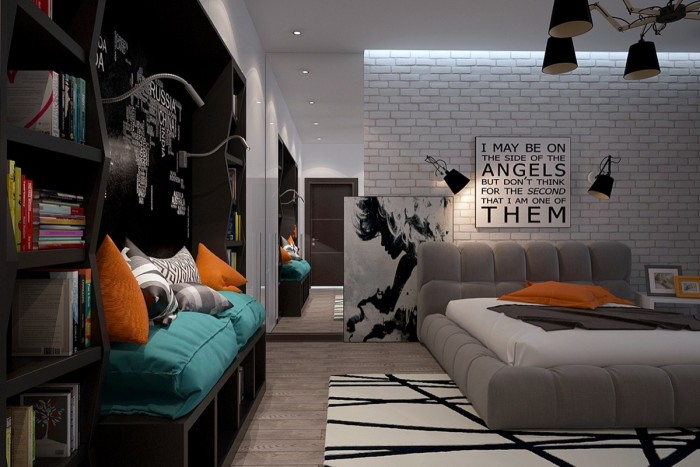 Brick wall interior bedroom