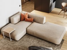 A textured rug softly outlines the simple lounge area