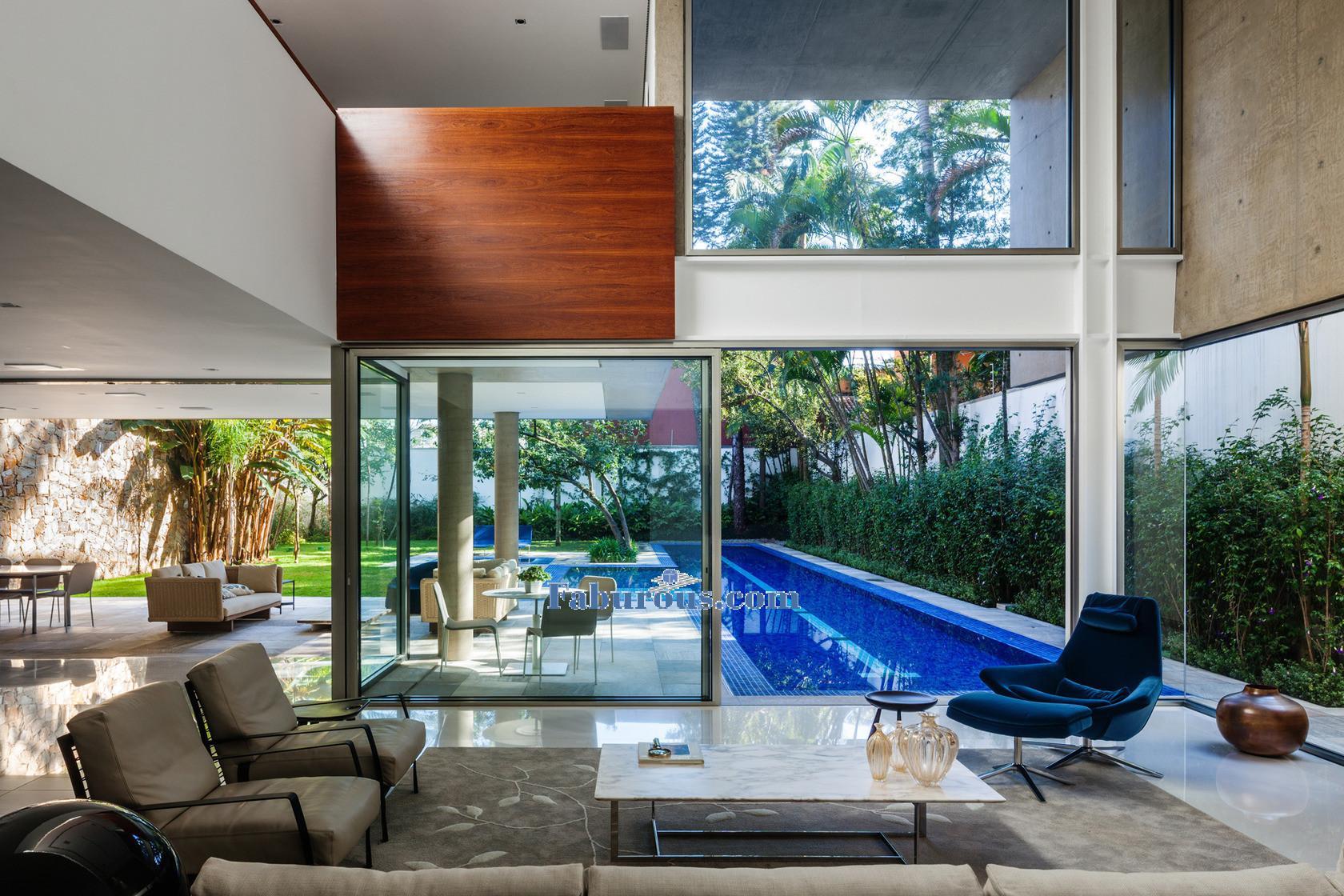 Open space brazilian modern house design for Casa moderna open