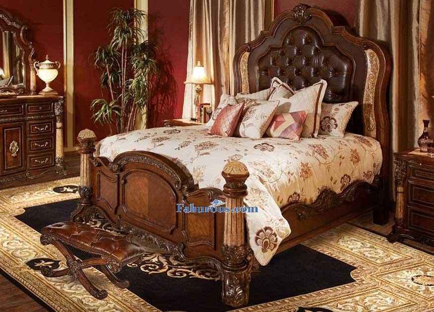 king-panel-bed-with-Bedside Bench