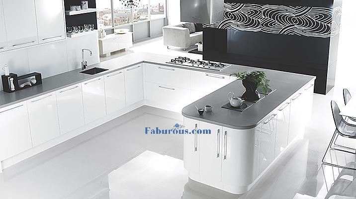 white kicten with black worktops