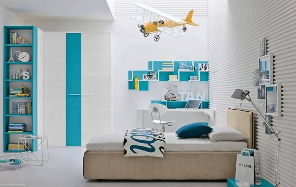 Aqua Blue White Bedroom