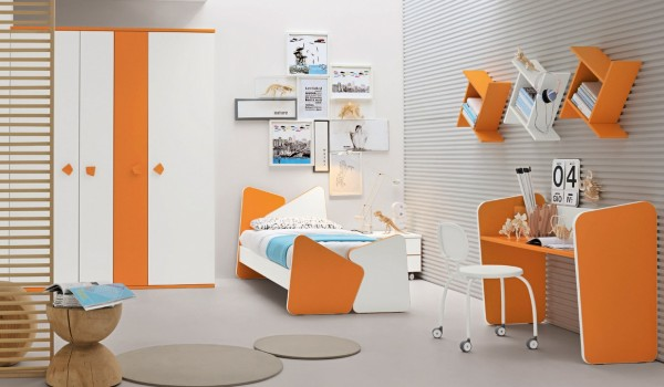Orange white and blue Kid's bedroom
