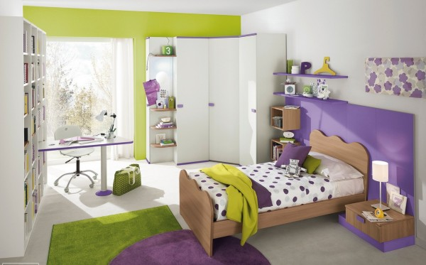 Purple green girls bedroom