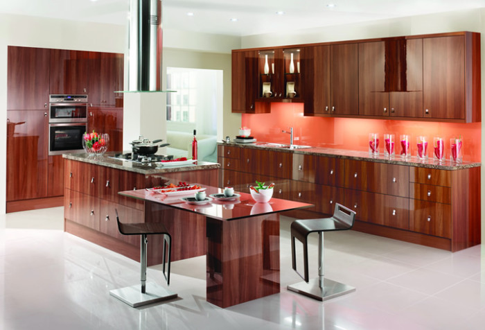 Tobacco Walnut modular kitchen