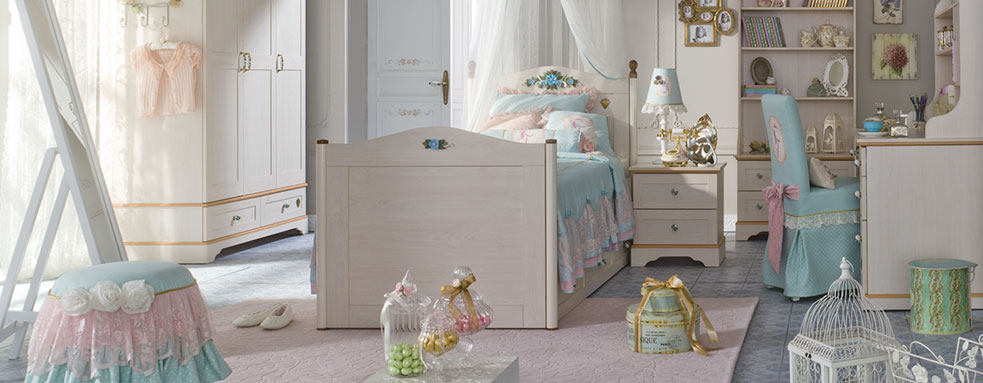 blue flora beddings with different furniture