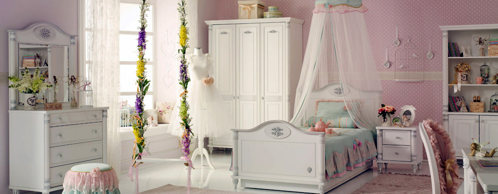 15 ways to create girl 39 s room designs Pink room with white furniture