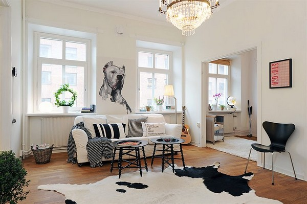 Minimalist Black and white scandanavian living room