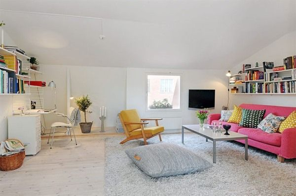 White ,yellow and Pink Living room