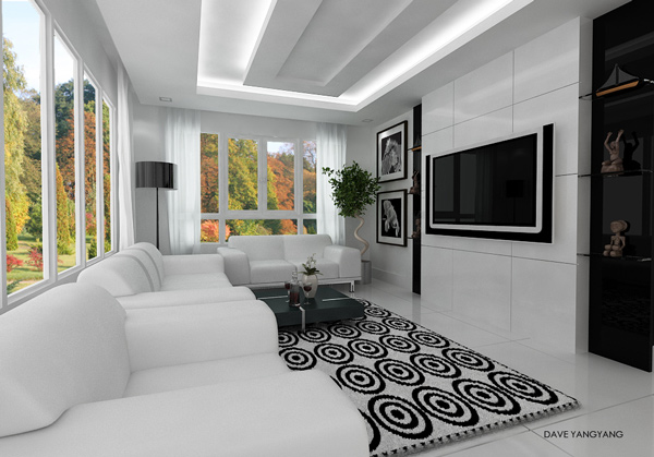 black and white themed modern living room