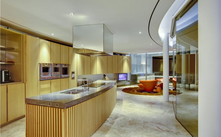 smooth wooden open plan kitchen design