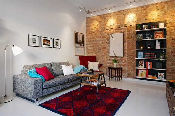 grey,red and white living room