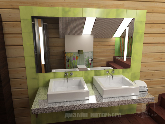 lime and white themed bathroom