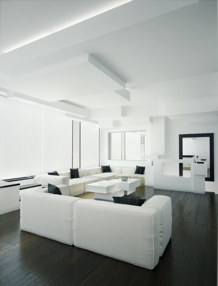 Contemporary living room interior designs with warm White and black modern living room