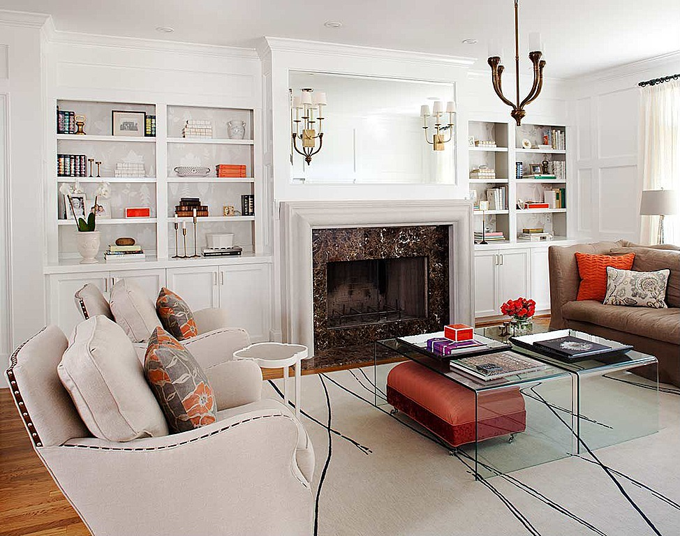 Spacious White Decor Living Room
