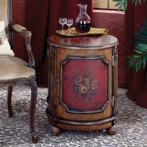 2 Red Floral Drum Table