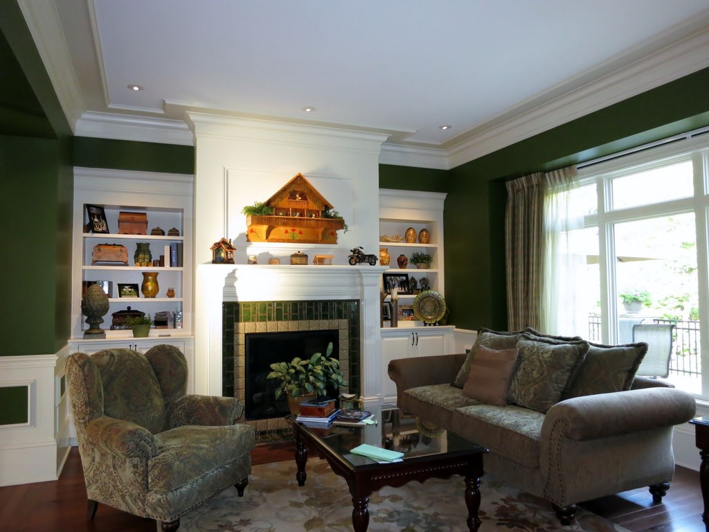 Traditional Green Decor Living Room