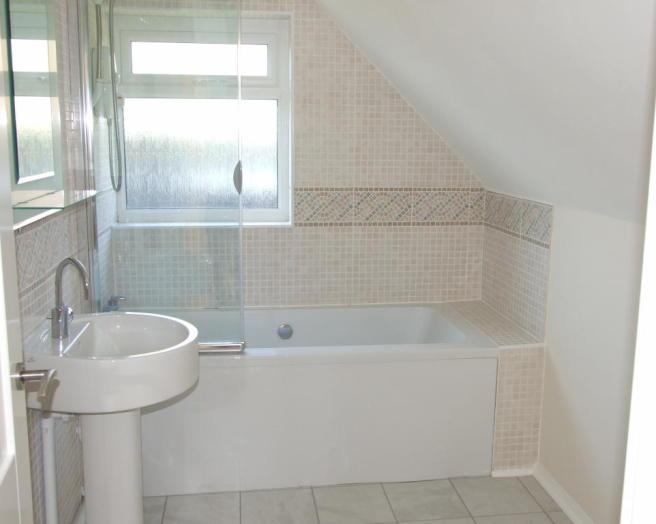 Neutral colour small bathroom design