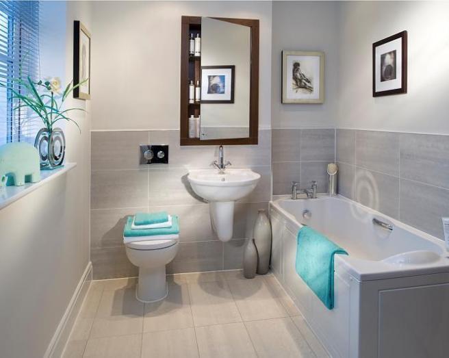 small bathroom with tiled floor
