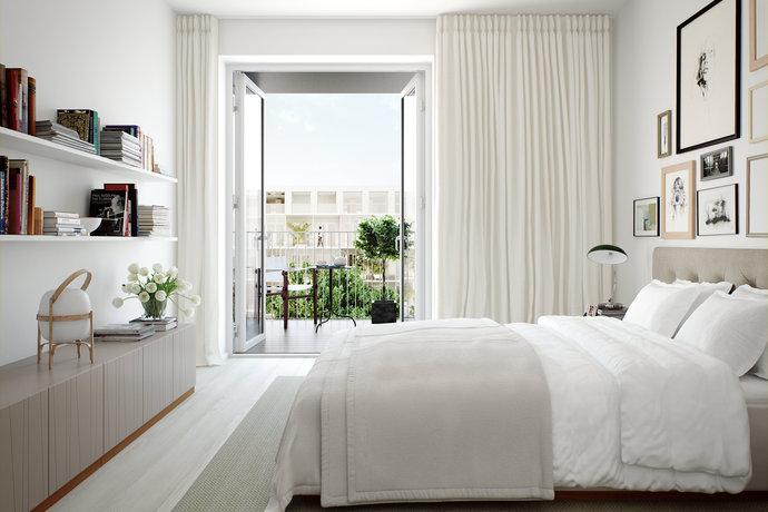 scandinavian bedroom interiors with damask wallpaper