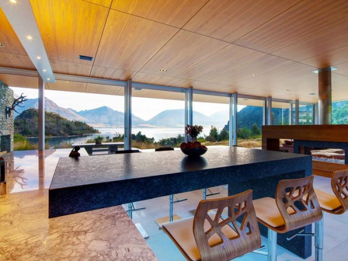 Beautiful-Lakefront-Architecture-Design-Wooden-Ceiling-Marble-Kitchen-Design