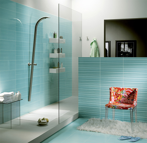 Bathroom Design with Blue Bathroom Tiles Picture