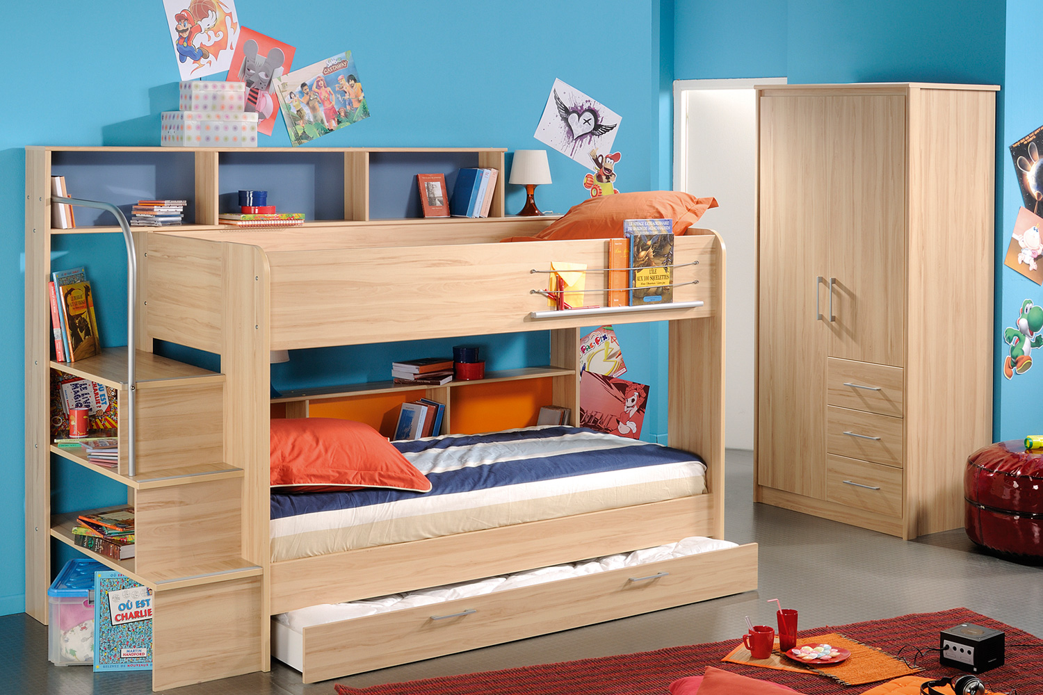 Lively colorful boys room space saving bunk bed designs for Bunk beds for kids with stairs