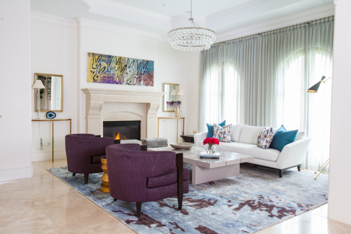 Contemporary White,Blue And Purple Mansion Living Room Idea
