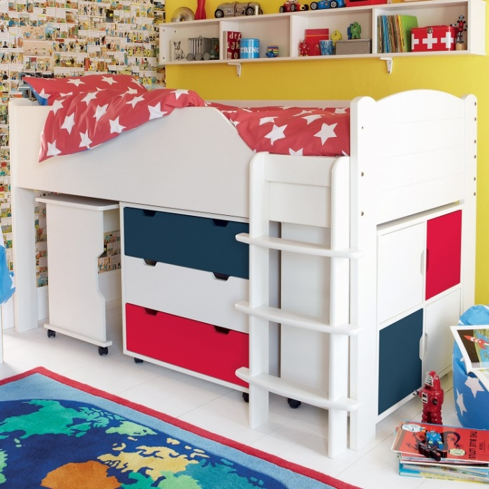 Colorful Girls Bedroom Space Saving Bunk Bed Designs