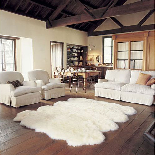 cozy cream white sheep rug