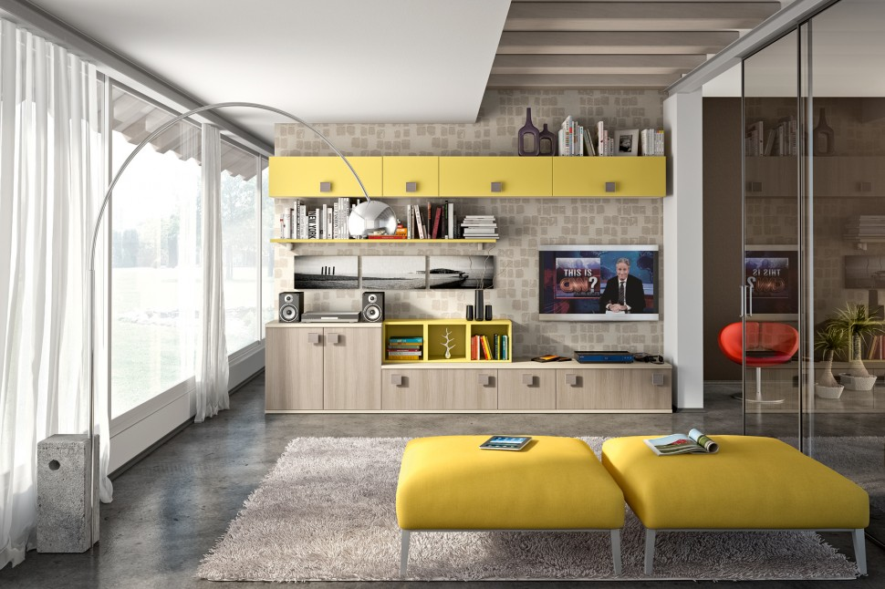 Living Room with yellow storage units