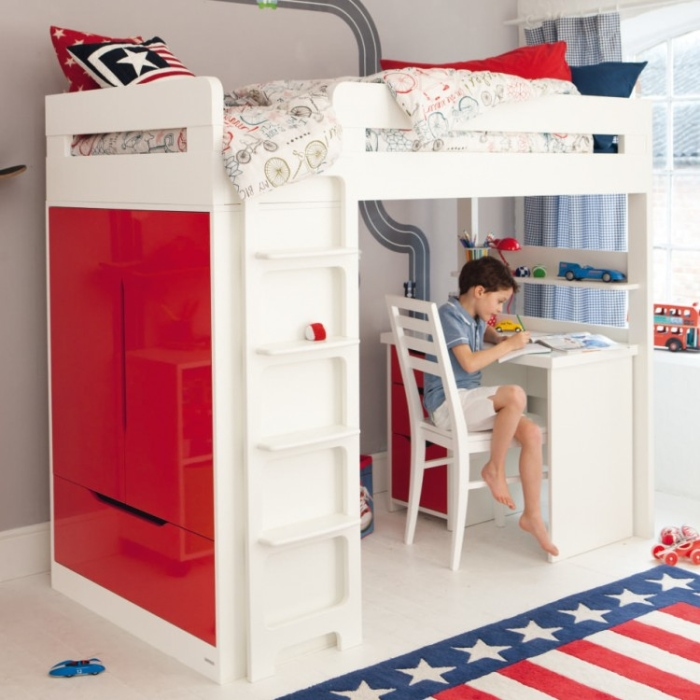 Red And White Boys Bunk Bed With Desk Table.5